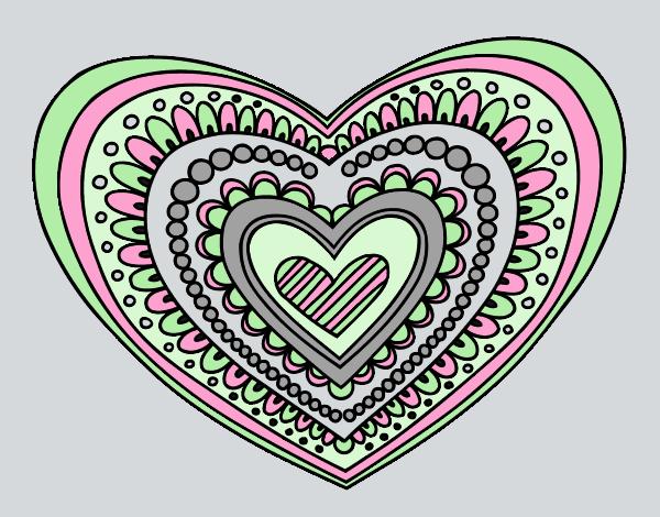 Coloring page Heart mandala painted byANIA2