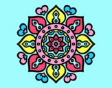 Coloring page Mandala arabic hearts painted bylorna