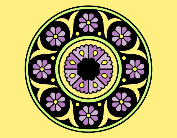 Coloring page Mandala flower painted byANIA2