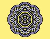 Coloring page modernist mosaic mandala painted bylorna
