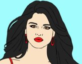 Coloring page Selena Gomez foreground painted bylorna