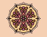 Coloring page Symmetric mandala painted bylorna