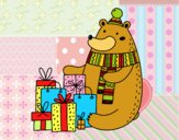 Coloring page Bear with Christmas gifts painted bybbbb