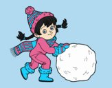 Coloring page Little girl with big snowball painted bylorna