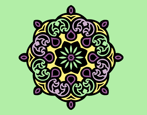 Coloring page Mandala cloud painted bylorna