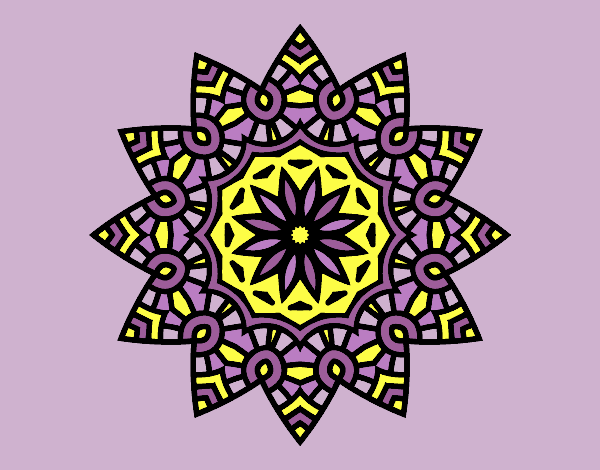 Coloring page Mandala flowery star painted bylorna
