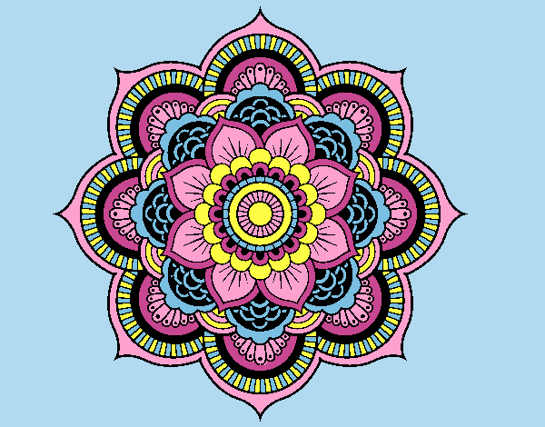 Coloring page Mandala oriental flower painted bylorna