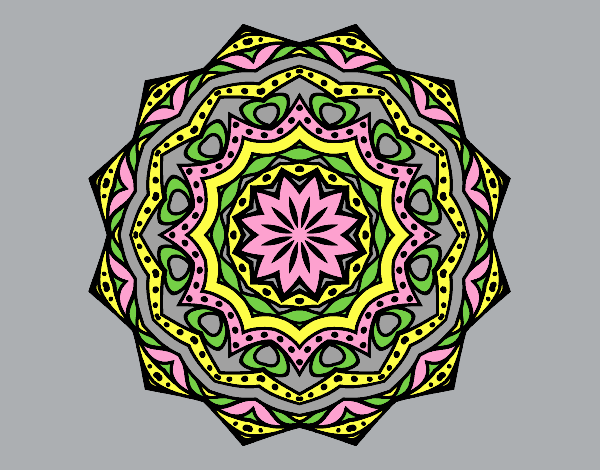 Coloring page Mandala with stratum painted bylorna