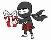 Ninja with present