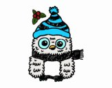 Coloring page Owl ready for Christmas  painted byDaisy66