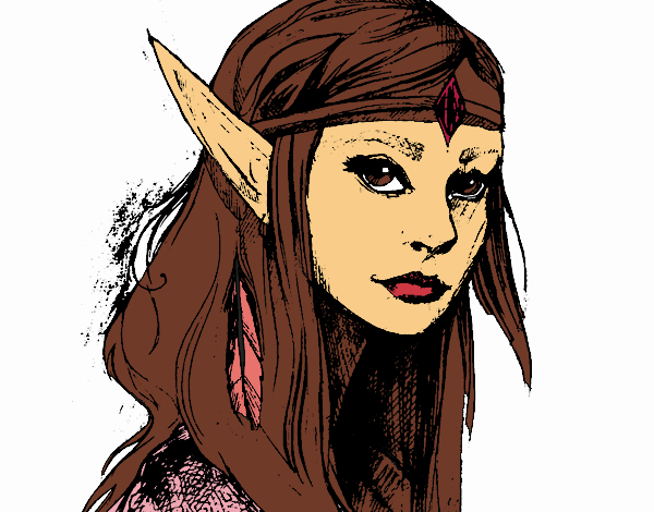 Coloring page Princess elf painted bySkye