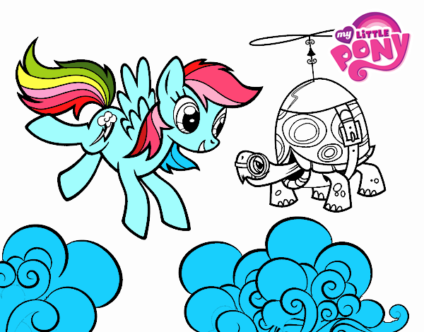 Colored Page Rainbow Dash And Tank Turtle Painted By User