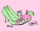 Coloring page Shoes and makeup painted bylorna
