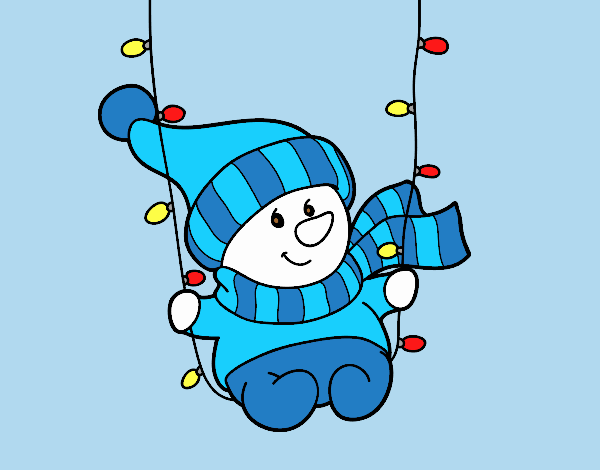 Coloring page Snowman swinging painted bylorna