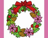 Coloring page Wreath of Christmas flowers painted byDaisy66