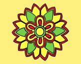Coloring page Flower Mandala shaped weiss painted bylorna