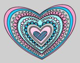 Coloring page Heart mandala painted bylorna