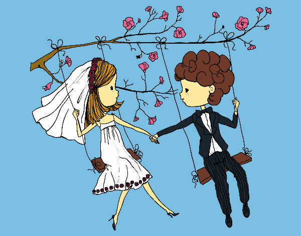Just married on a swing