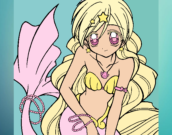 Coloring page Mermaid 3 painted byKitty