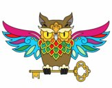 Coloring page Owl with key tattoo painted byBlazefuryx