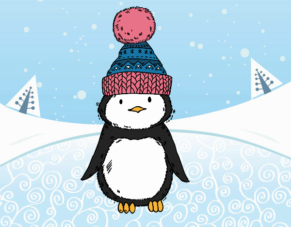 Penguin with winter cap