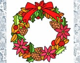 Coloring page Wreath of Christmas flowers painted byBlazefuryx