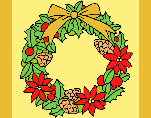Coloring page Wreath of Christmas flowers painted bylorna