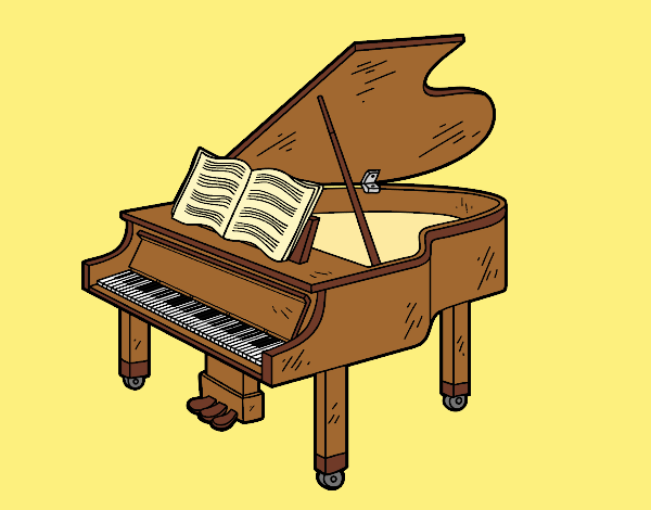 Coloring page A grand piano open painted byLornaAnia