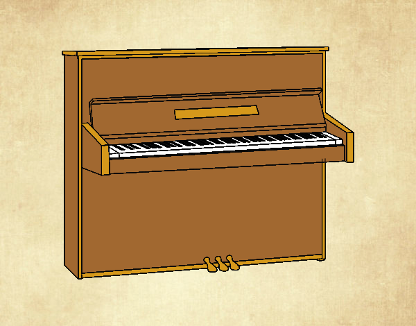 Coloring page An upright piano painted byLornaAnia