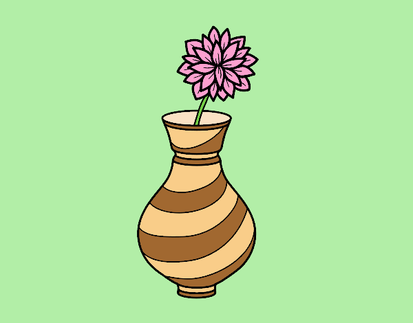 Coloring page Chrysanthemum in a vase painted byLornaAnia