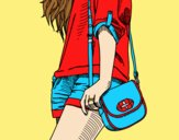 Coloring page Girl with handbag painted byLornaAnia