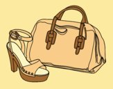 Coloring page Handbag and shoe painted byLornaAnia