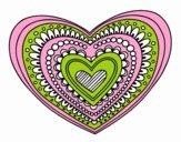 Coloring page Heart mandala painted byeliza32