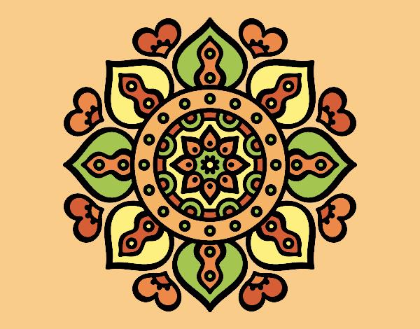 Coloring page Mandala arabic hearts painted byLornaAnia