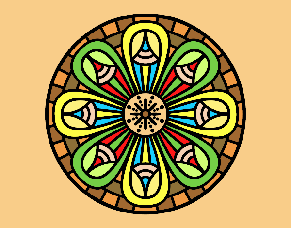 Coloring page Mandala pencils painted byLornaAnia