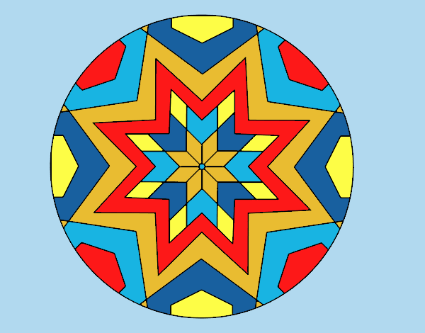 Coloring page Mandala star mosaic painted byLornaAnia