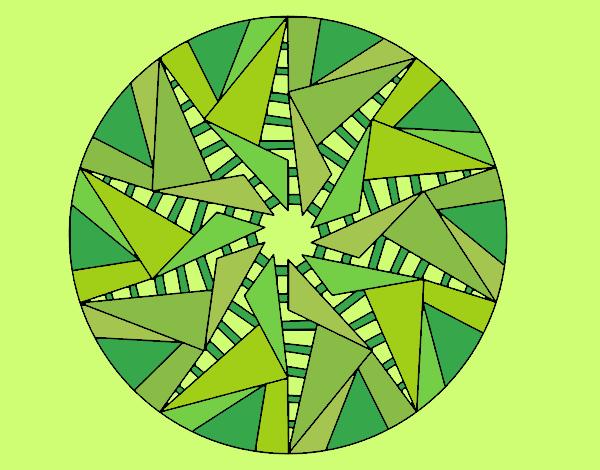 Coloring page Mandala triangular sun painted byLornaAnia