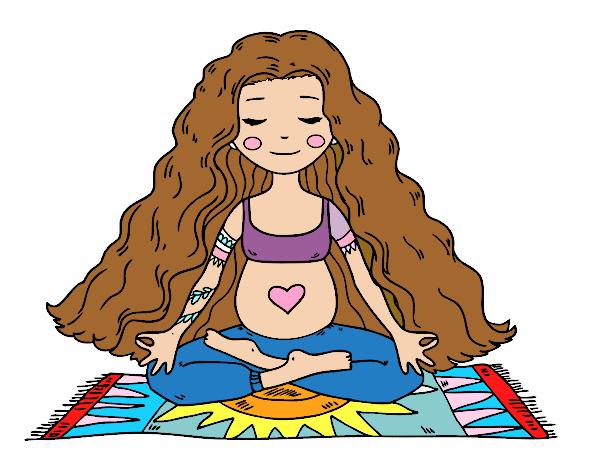 Pregnant practicing yoga