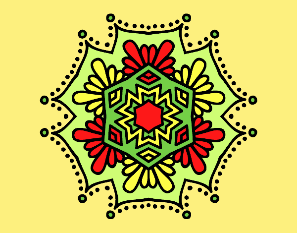 Coloring page Symmetrical flower mandala painted byLornaAnia