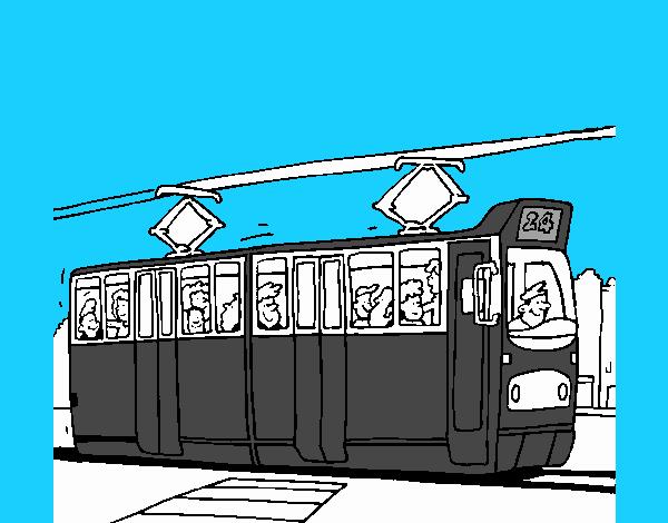 Tram with passengers