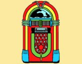 Coloring page 1950s jukebox painted byLornaAnia