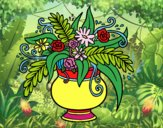 Coloring page A vase with flowers painted byAmatullah