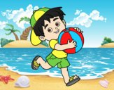 Coloring page Child playing with beach ball painted byLornaAnia
