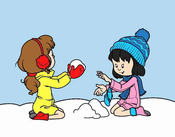 Girls playing with snow