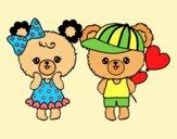 Coloring page Kawaii bears in love painted byLornaAnia