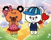 Coloring page Kawaii bears in love painted bySkye