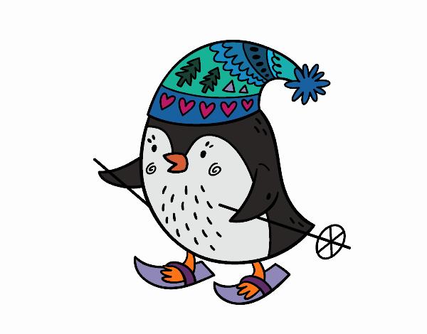 Little bird skiing