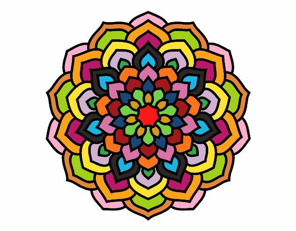 Coloring page Mandala flower petals painted bylisa2018