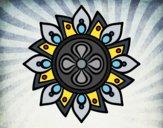 Coloring page Mandala simple flower painted bynayrb