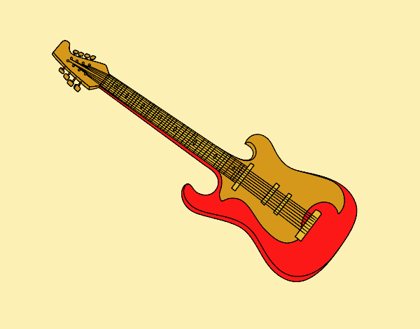 Coloring page An electric guitar painted byLornaAnia